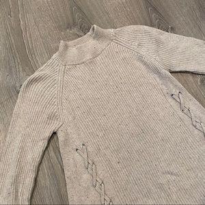Style & Co Grey Mock Neck Braided Sweater Sz Sm